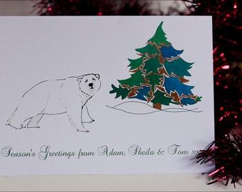 Set of 8 Personalized Christmas Cards 'Polar Bear'. Hand illustrated holiday cards. UK custom winter cards. Polar bear cards