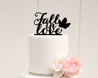 Fall Wedding Cake Topper - Fall in Love Cake Topper - Fall Wedding - Autumn Wedding - 0033
