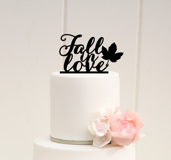 Fall Wedding Cake Topper Fall In Love Cake Topper Fall