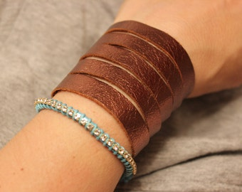 Leather Cuff Bracelet/BROWN leather bracelet/Cuff bracelet for women/BROWN Genuine Leather Bracelet/Boho Jewelry/Gift for her/Soft Leather