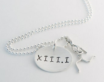 Roman Numeral Marathon - Half Marathon Run Necklace Runner Girl Roman Numeral Jewelry Hand Stamped Sterling Silver