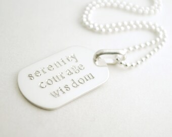 Sobriety Necklace for Him - Serenity Courage Wisdom Hand Stamped Sterling Silver Encouragement Necklace