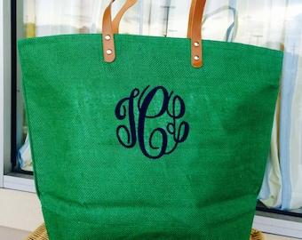 MONOGRAMMED Irish Green Colored Jute Bag (Font Shown: Master Circle in Navy)