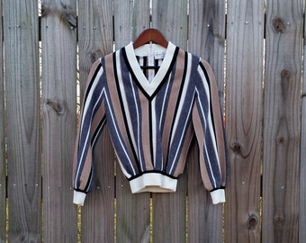 XS S Extra Small Vintage 60s James Kenrob by Dalton V-Neck Back Zipper Long Sleeve Striped Indie Hipster Top Shirt Blouse