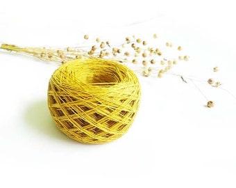 Linen gold ocher yarn, linen thread, linen natural 3ply yarn, thick yarn, crochet yarn