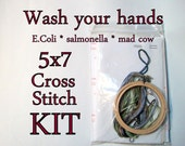 Cross Stitch Kit -- Wash your hands 5x7 DIY kit, with E. coli, salmonella, mad cow/common cold/C Diff and materials you need to stitch 'em