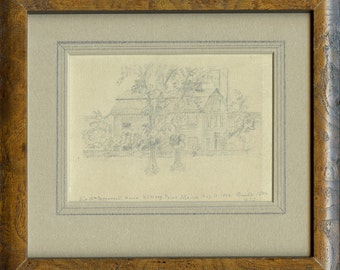 Kittery Point, Maine, Sir Wm. Pepperrell House, August 17, 1874, Built 1683, Antique Drawing, Archivally Framed, Ready to Hang