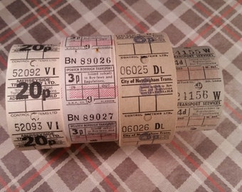2 Dozen Vintage Bus Tickets White Gray Tan Neutral Travel Tickets