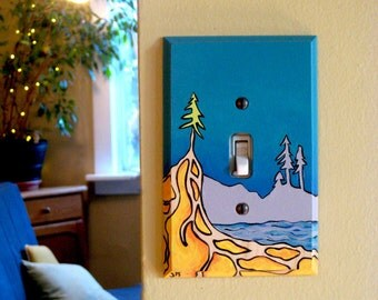 Turquoise Home Decor Light Switch Plate Original Landscape Painting Toggle Rocker Outlet Plate