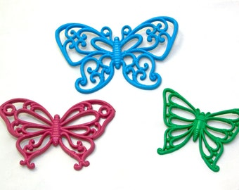 Vintage Set of 3 Colored Butterflies • 70s Butterfly Wall Hanging • Syroco Homco Wall Art
