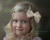 Lace Bow Headband, Newborn Photo Prop, Lace Headband