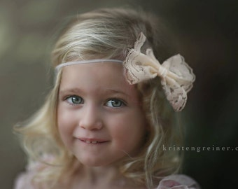 Lace Bow Headband, Newborn Photo Prop, Lace Headband