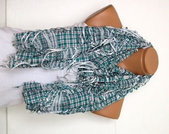 plaid Scarf,Fringed Womens Scarf, white, emerald green, Shabby chic,Scarf,Cowl,Shawl,Wrap,Bandana,Headband,womans scarves.