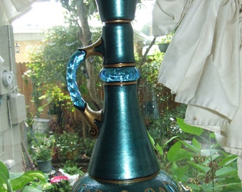 Teal Green Genie Bottle I Dream of Jeannie Hand Painted Original Jim Beam Whisky Glass Bottle Decanter OOAK Gift