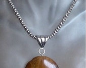"""Tiger Eye Oval Pendant c/w Stainless Steel chain - 21""""lg (53cm) - Stainless Steel Finish"""