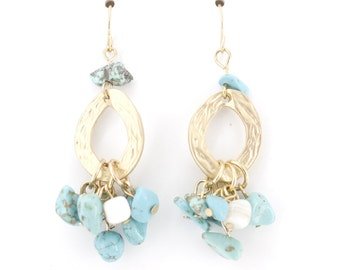 Gold-tone Natural Turquoise Stones Hoop Dangle EARRINGS,B12