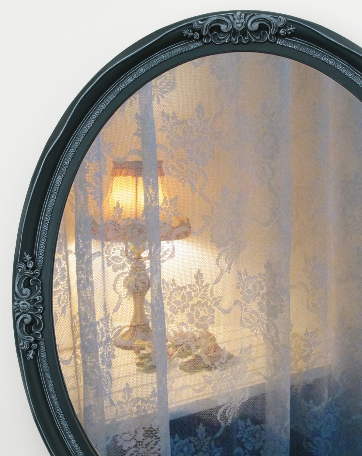 Large oval wall mirror dark teal mirror embossed border for Teal framed mirror