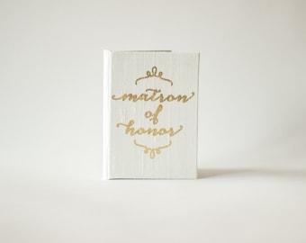 Pocket Sized Matron of Honor Speech Silk Folio Keepsake - Gold Foil Speech Holder
