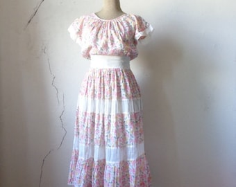50s sheer summer dress/ floral print/ tiered peasant skirt// small