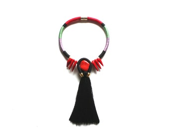 SULA - Statement Tassel Necklace Coral Necklace Wrapped Rope Necklace Boho Ethnic Tribal Necklace Black Fringe Red Green Beige