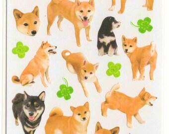 Kawaii Japan Sticker Sheet Assort: La Dolce Vita Big Photo Dogs Shiba Inu Puppy Black Red Tan Four leaf Clover R