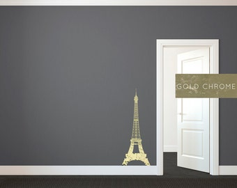Effiel Tower Shilouette Gold Chrome -  Wall Decal Custom Vinyl Art Stickers