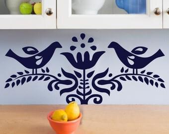Scandinavian Vintage Bird and Branch Print- Wall Decal Custom Vinyl Art Stickers for Homes, Schools, Nurseries, Bedrooms