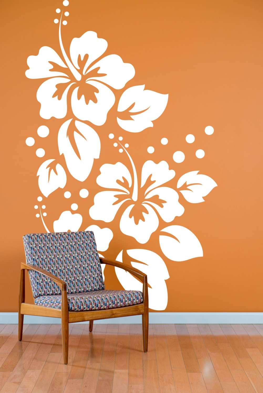 Large Hibiscus Flowers Pattern Wall Decal Custom Vinyl Art