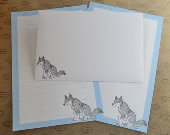Letter paper set - wolf cub - animal lovers - cute stationery set - puppy dog - envelopes