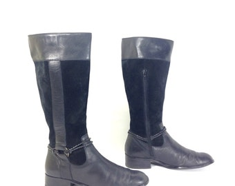 Tall Leather Riding Boots 8 - Black Leather Harness Boots 8 - Western Boots 8 - Black Leather Knee High Boots 8