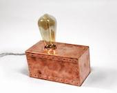 Copper Block Table Lamp. Copper lamp. Industrial lighting. Vintage table lamp. Scandinavian Design. Edison light.