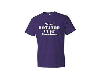 Torn ROTATOR CUFF Survivor women's or men's shirt distressed font.  Rotator cuff. Get well. Injury. Shoulder surgery. Get well gift.