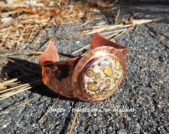 Leopard Skin Jasper Stone Cuff, Animal Print Accessory, Hammered Stone Bracelet, Hammered Stone Cuff, Copper Cuff, Copper Jewelry
