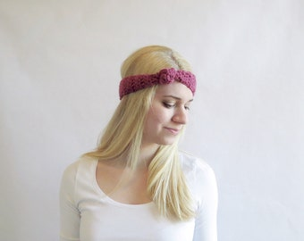 Pink Knot Headband Crochet Knotted Headband in Antique Pink Hair Accessory for Women Teens Girls