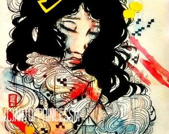 Small art print - Watercolor portrait illustration - giclee art print - asian art - art lovers - watercolor art