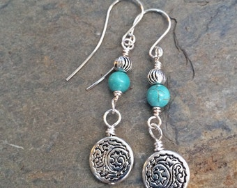 Semi-Precious Stone and Silver Dangle Earrings - Your Choice of Stone