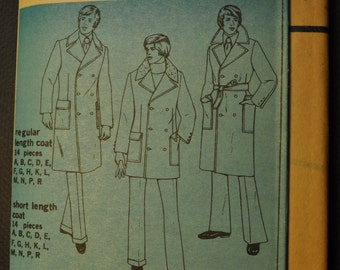 Simplicity 5326 Men's Overcoat Long or Short Vintage 1970s UNCUT Sewing Pattern SIZE 46