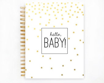 Baby Book, GOLD STARS Baby Memory  Book, Personalized Baby Book,  Baby Books, The Sweet Rhino