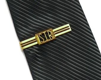 Vintage Mens Tie Bar Clasp Clip Gold tone  Swankklip Initials