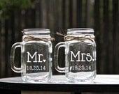 Mr. and Mrs. Mason Jar Mug Set, Mason Jars, Mason Jar Mug Set, Weddings
