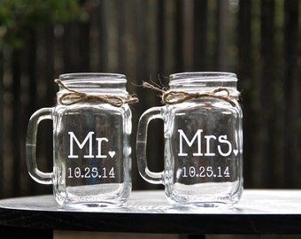 Mr. and Mrs. Mason Jar Mug Set, Mason Jars, Mason Jar Mug Set, Weddings