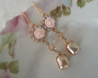 PINK CHAMPAGNE EARRINGS Bridal Bridesmaids Wedding Pearl Country Barn Rustic Shabby Chic