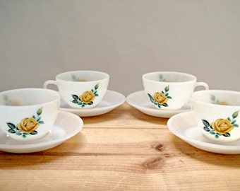 Vintage White Glass set of 4 Teacups and Saucers with Rose Design