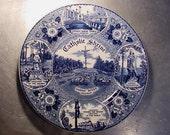 STAFFORDSHIRE Plate CATHOLIC SHRINE Religious Vintage Souvenir Indian River Michigan