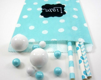 24- 5X7 Aqua and White Small Dot  Bags, Treat Bags, Favors, Candy Buffet, Wedding, Polka Dot, Baby Shower, Birthday,