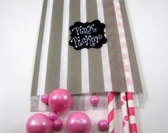24- 5X7 Gray & White Stripe Bags, Treat Bags, Favors, Candy Buffet, Wedding,