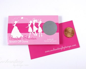 10 Hot Pink Bridal Shower Scratch Off Cards - Bridal Shower Game - Bachelorette Party Game