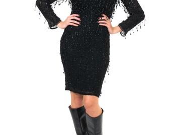 1970s Vintage Black Dangling Beaded Dress  Size: S/M