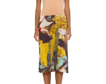 1980s Vivacious Vintage Christian Lacroix Colorful Print Pencil Skirt Size: XS/S