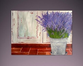 Original Oil Painting 28 x 20 - Lavender -Old Door - Vase Of Flowers - White Purple Violet - Contemporary Painting - Wall Art Made To Order